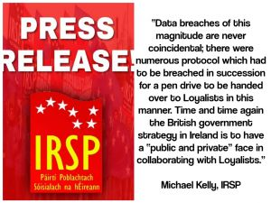 IRSP demand clarity on PSNI intelligence collusion with Loyalists.