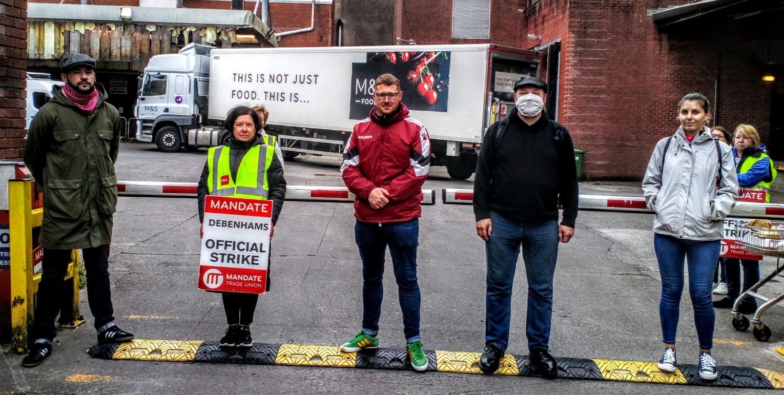 IRSP in Cork attend workers picket and blockade at Debenhams Store in the city centre